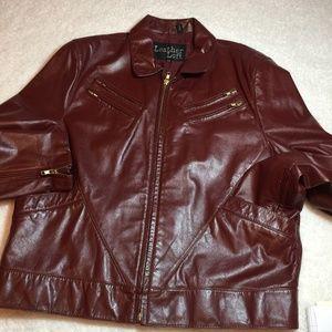 Vintage Red Brown Leather Moto Jacket Men's 44